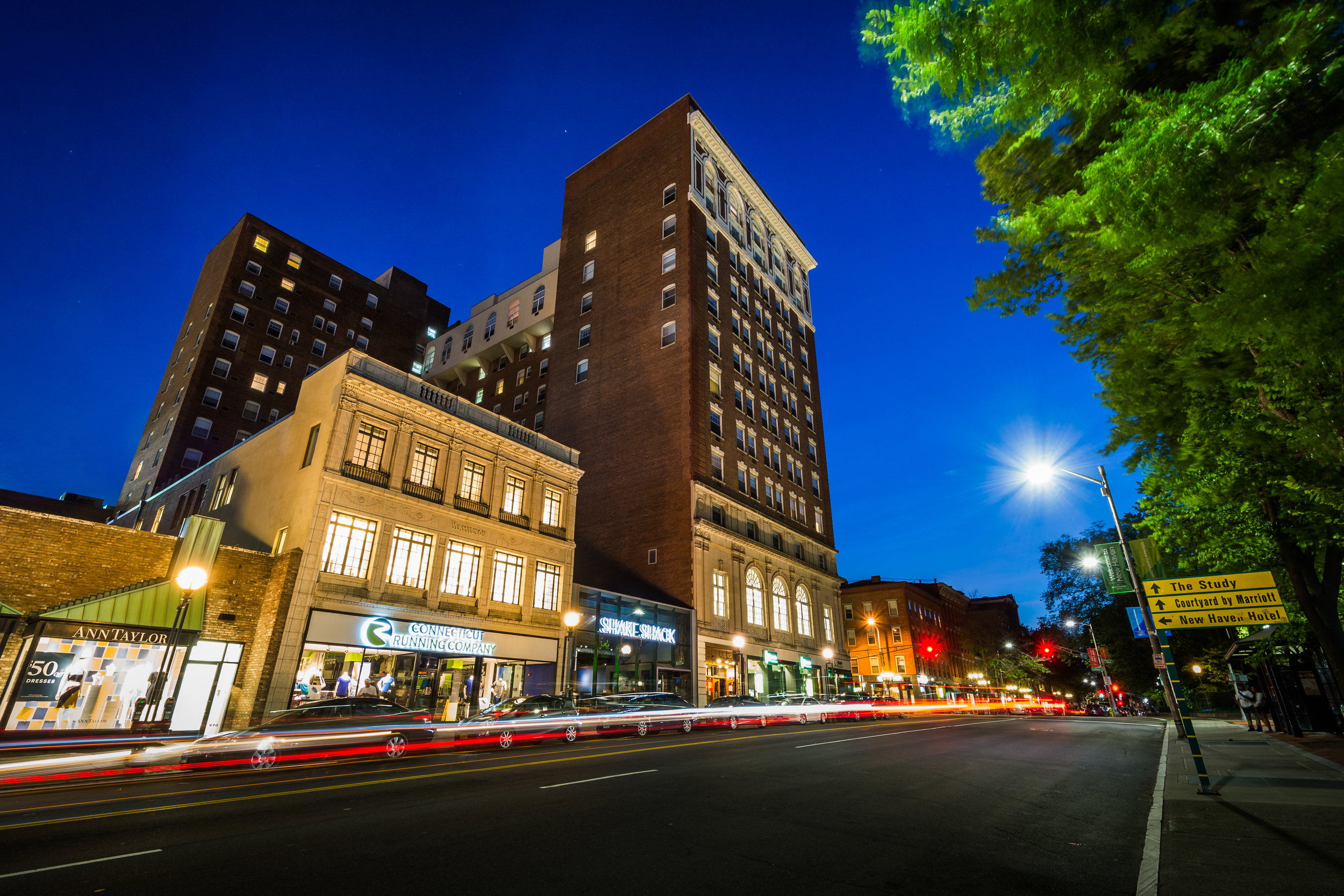 Buildings and traffic on Chapel Street at night, in downtown New Haven, Connecticut.-1.jpg