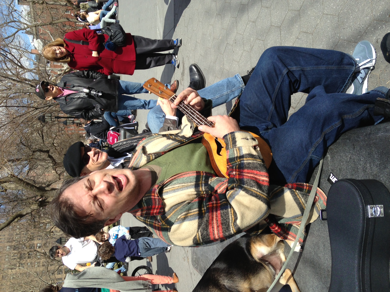 "John in Washington Square sings ""I'm Confessin'"" with Baby Soda, photo by Dan Levinson"