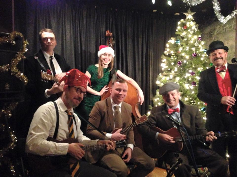 Christmas at Jimmy's No. 43, gathered around the tree with our pal Erin Lobb on bass, Ukulele Cabaret, 2014