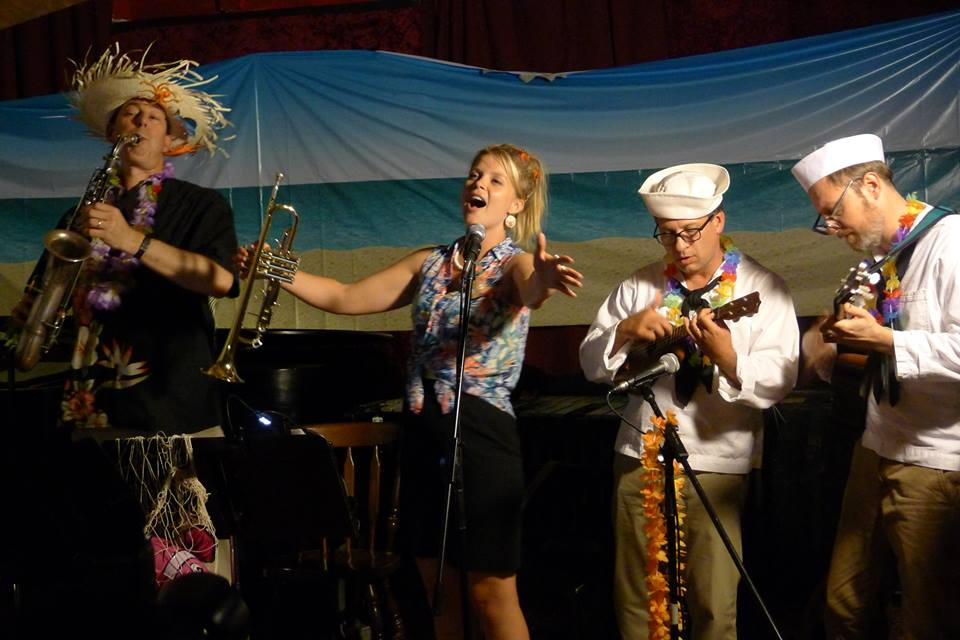 "Bria Skonberg ""On a Coconut Island"", with (l-r) Dan Levinson, John Bianchi and Angus Loten,  Will Friedwald's Clip Joint at Zeb's,  September 2014"