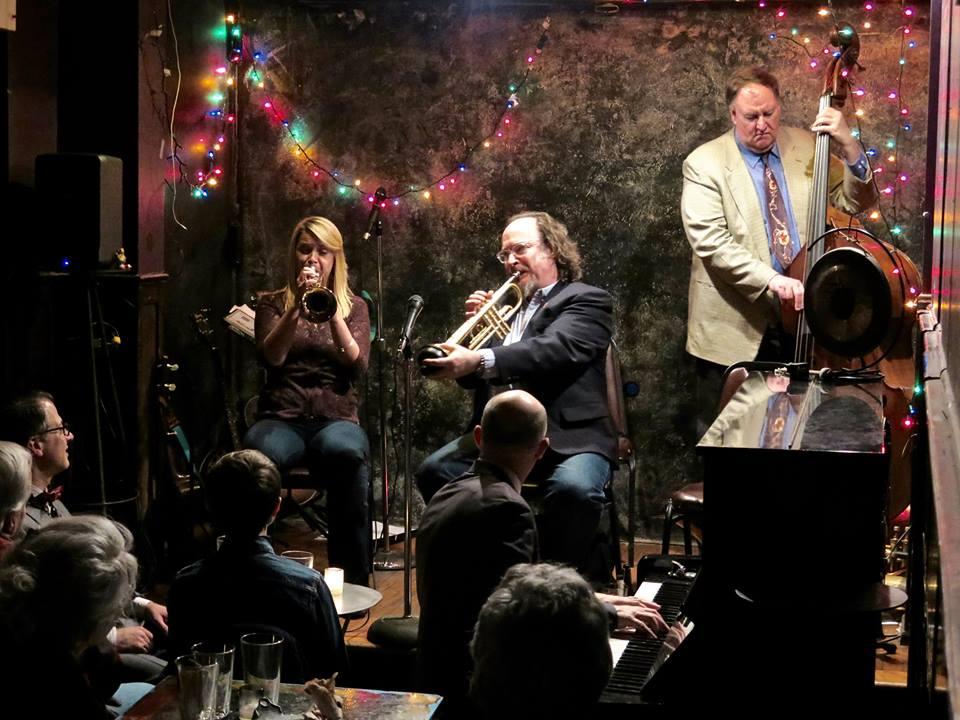Bria Skonberg and Jon-Erik Kellso play Wabash Blues, Jimmy's 1/28/16  Photo: Neal Siegal