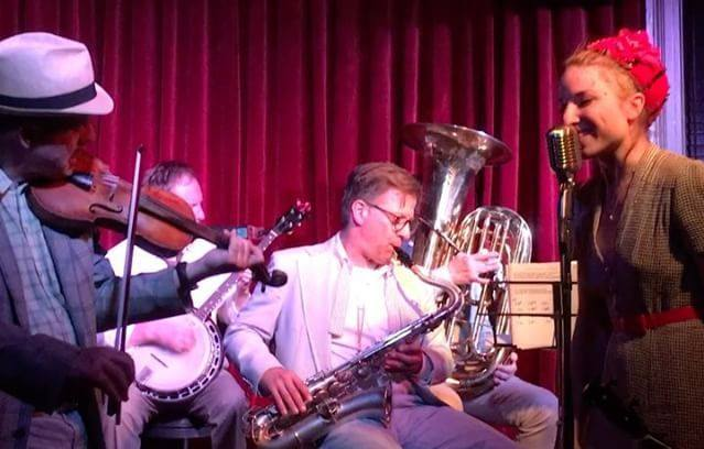 The fellas playing for Miss Maybell, Red Room, June 2018.  Dave Ostwald is sitting in back there on tuba.