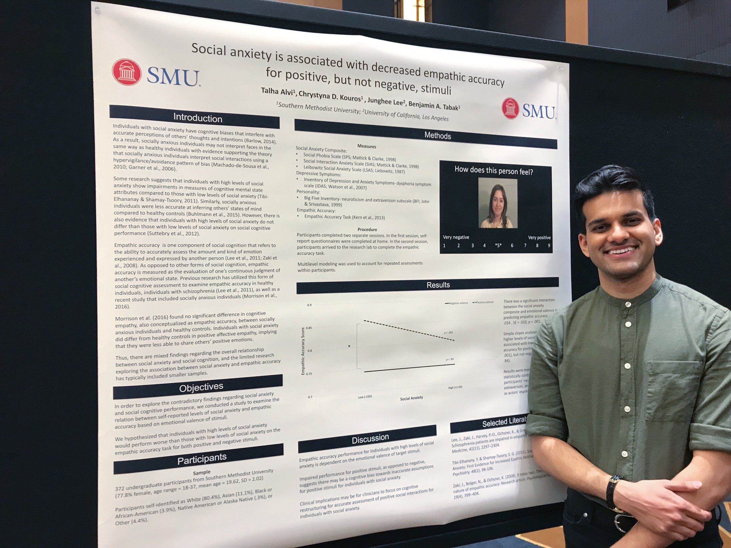 - In April, Talha presented his interesting work showing a link between social anxiety and social cognitive impairment. In addition to attending the SAS conference, Talha was able check out the canals in Venice, the Santa Monica Pier, and most importantly, Dr. Tabak's favorite sushi restaurant: Sugarfish.