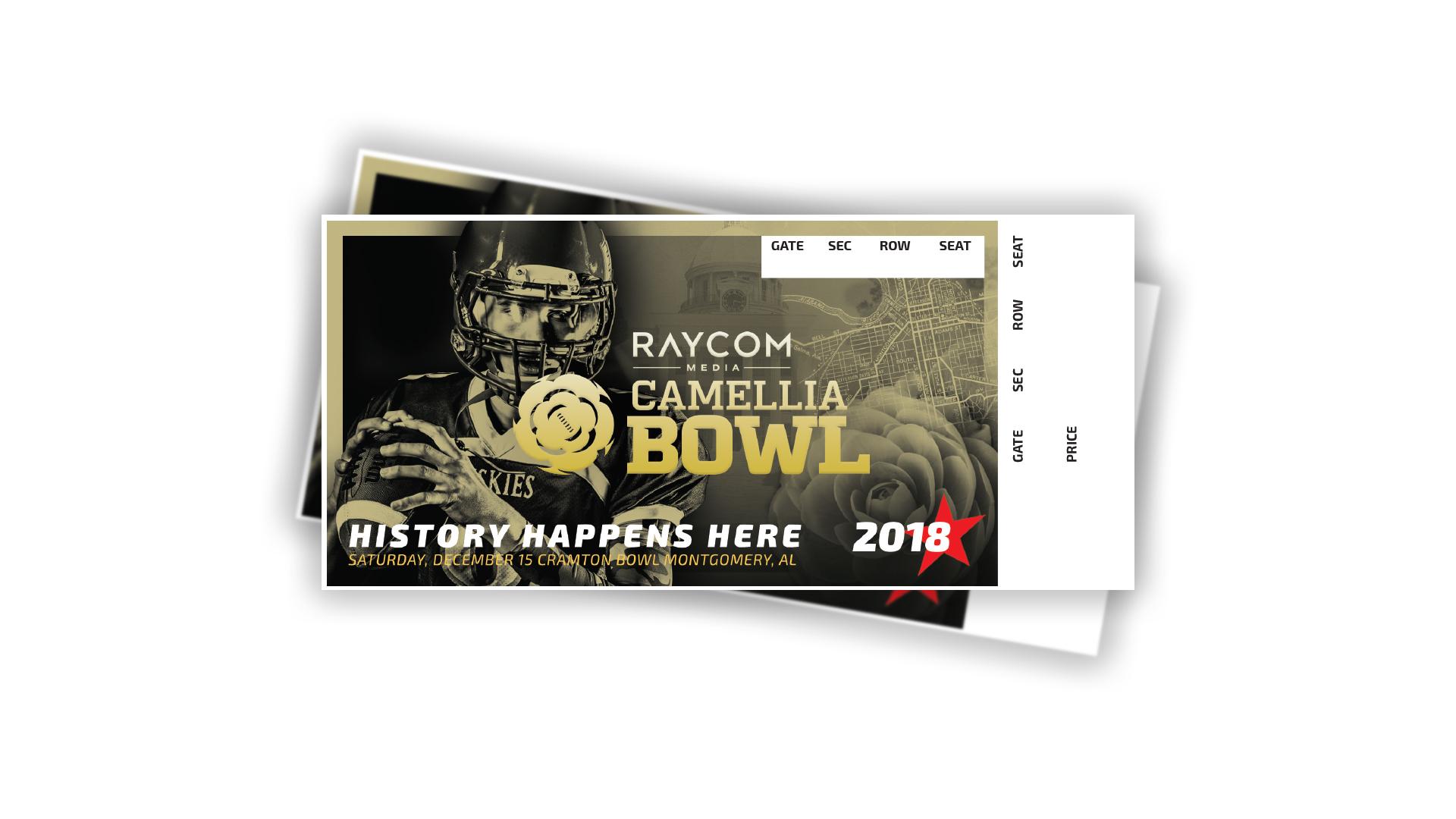 2018 Raycom Media Camellia Bowl   Ticket Design