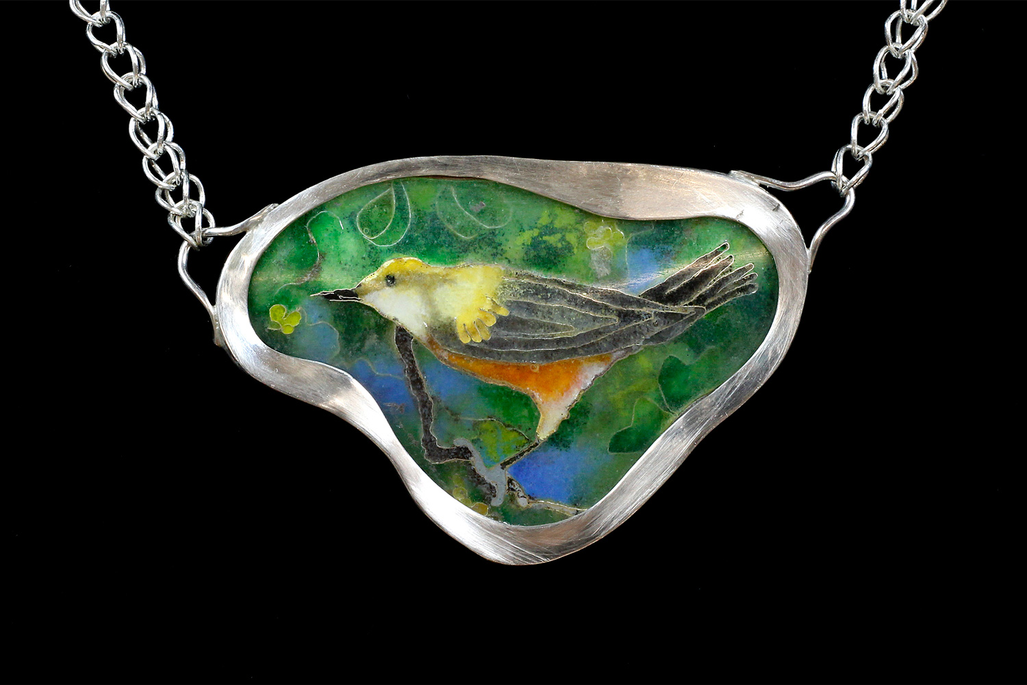 Bird in Tree, two-sided pendant necklace. Silver, enamel, fine silver handwoven chain. 4 cm x 6.2 cm. $2500