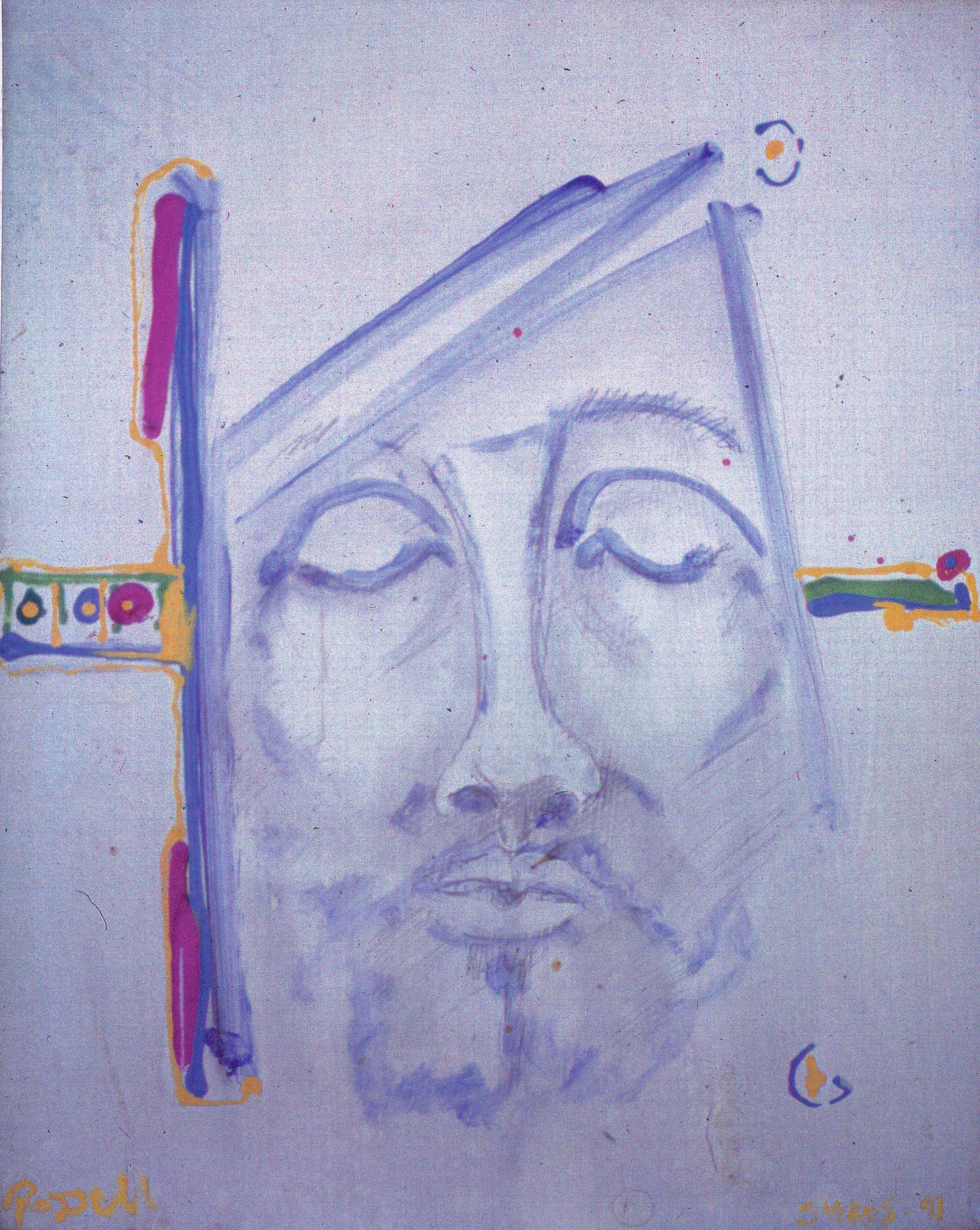 Untitled, Pencil Sketch in Blue 1991