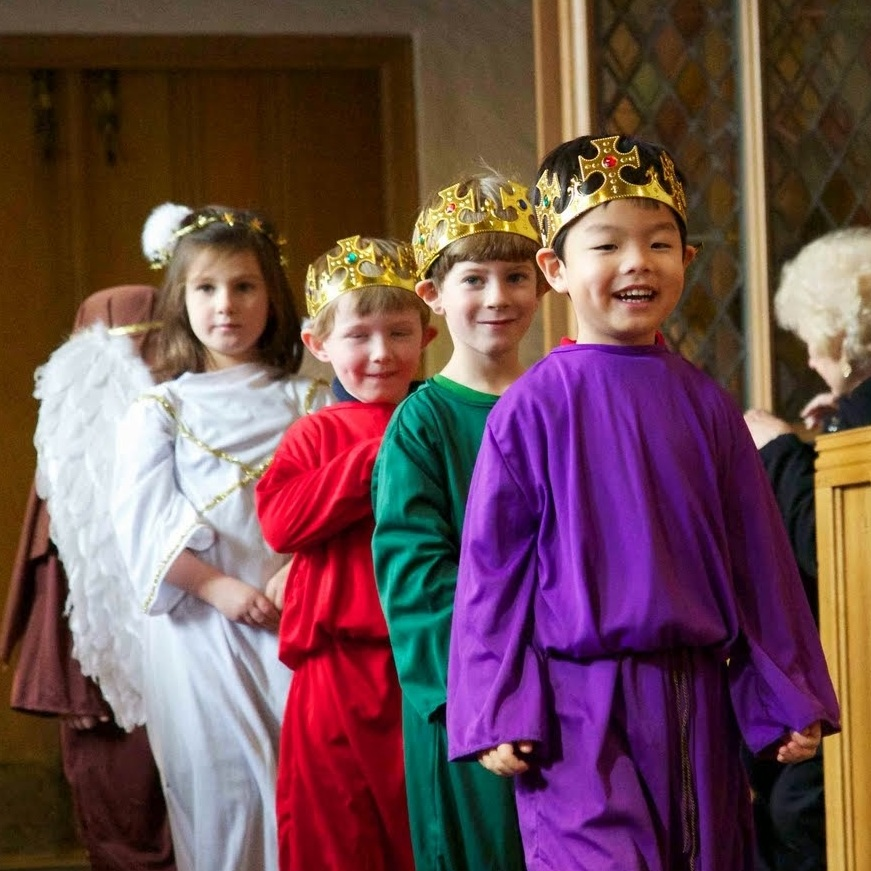 Four Pre K students during Christmas pageant