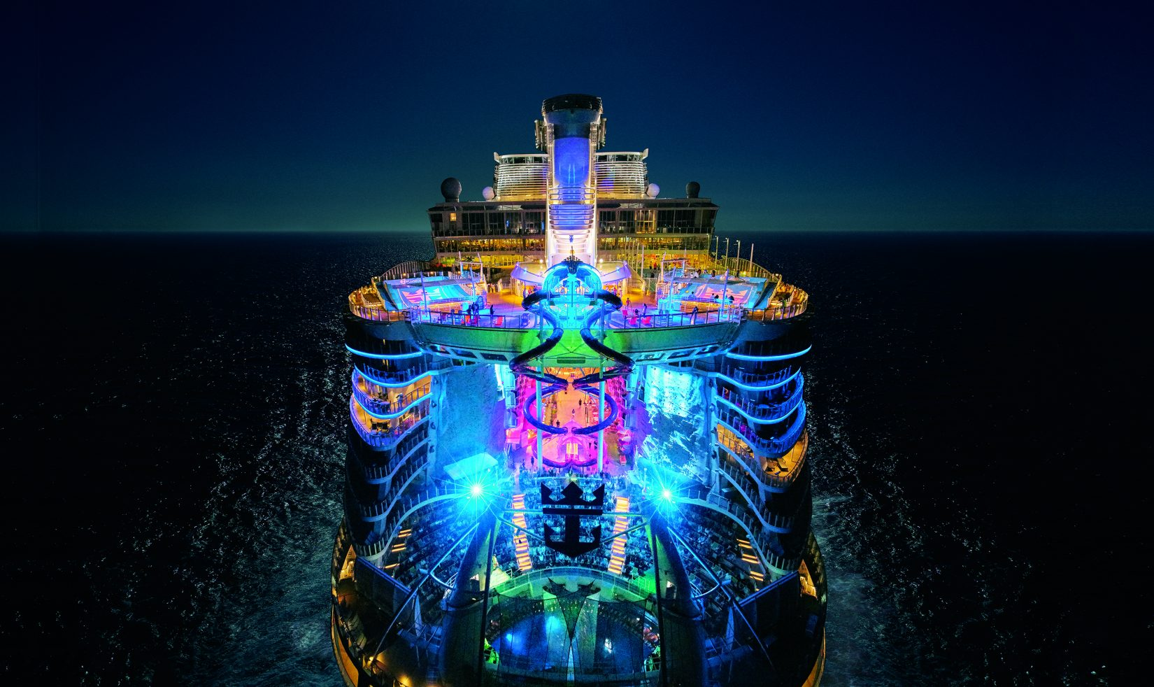 Symphony of the Seas, night view.