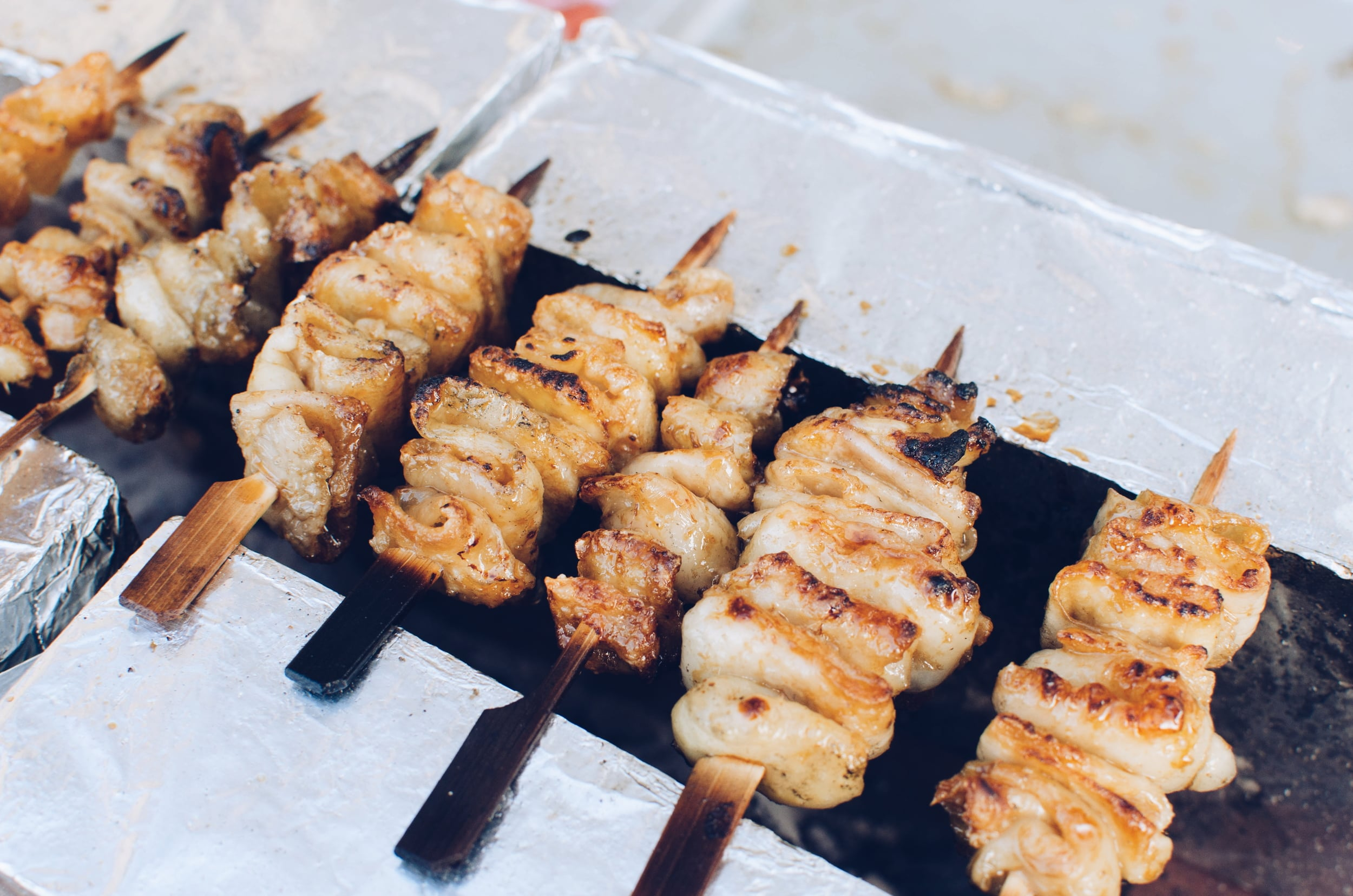 chicken skin skewers - very hard to cook but delicious.