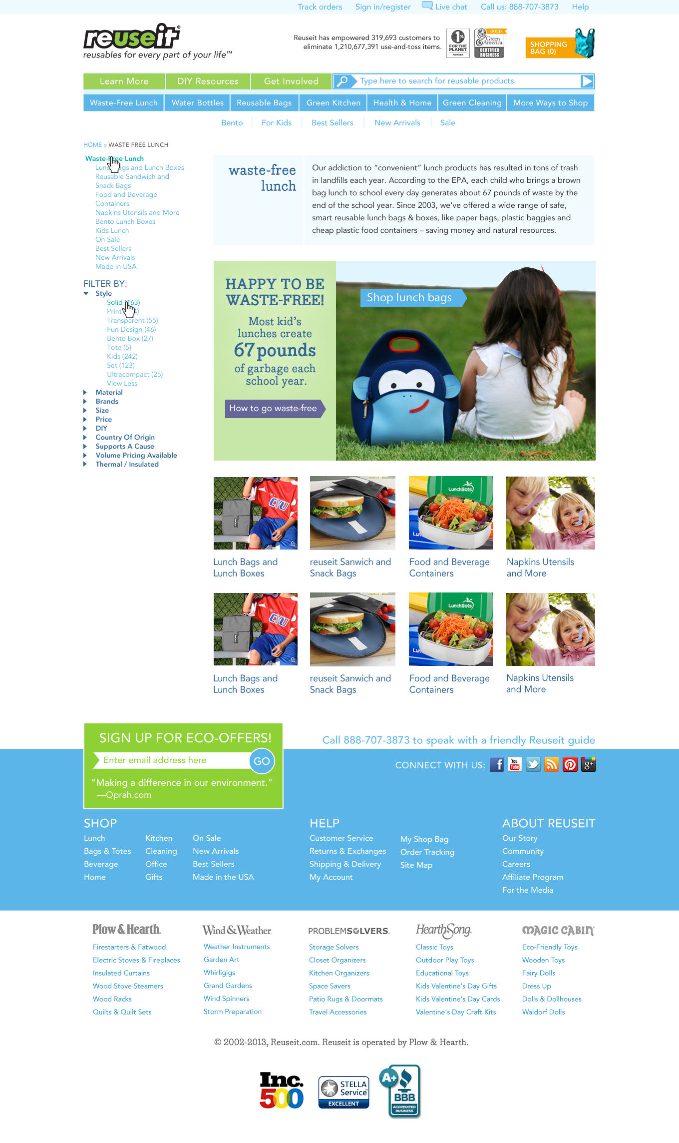 Category page web design