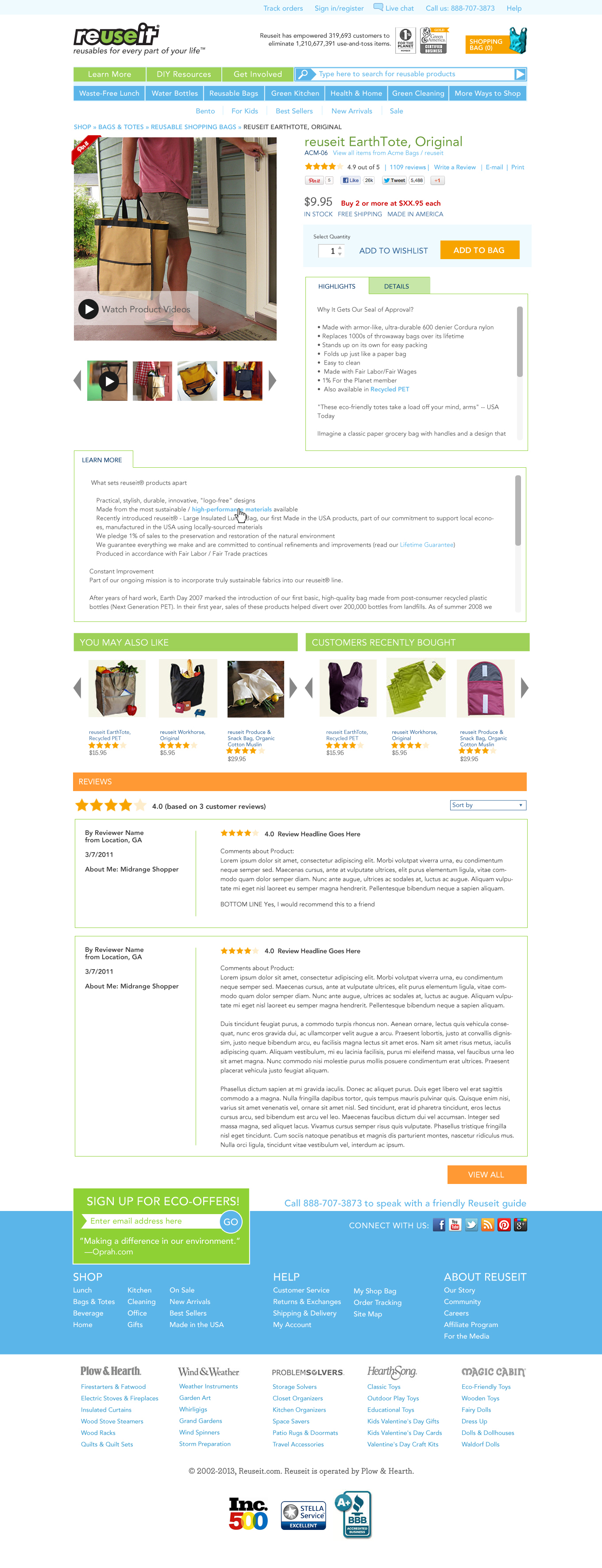 Product page web design