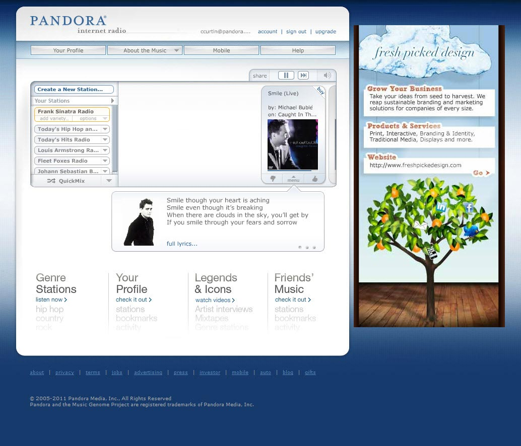 Pandora Flash banner for desktop