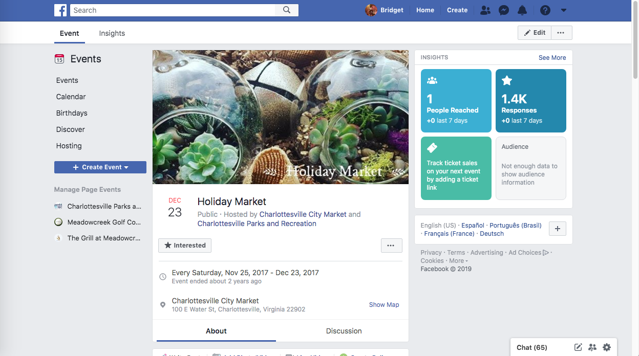 Holiday Market Facebook Event Analytics