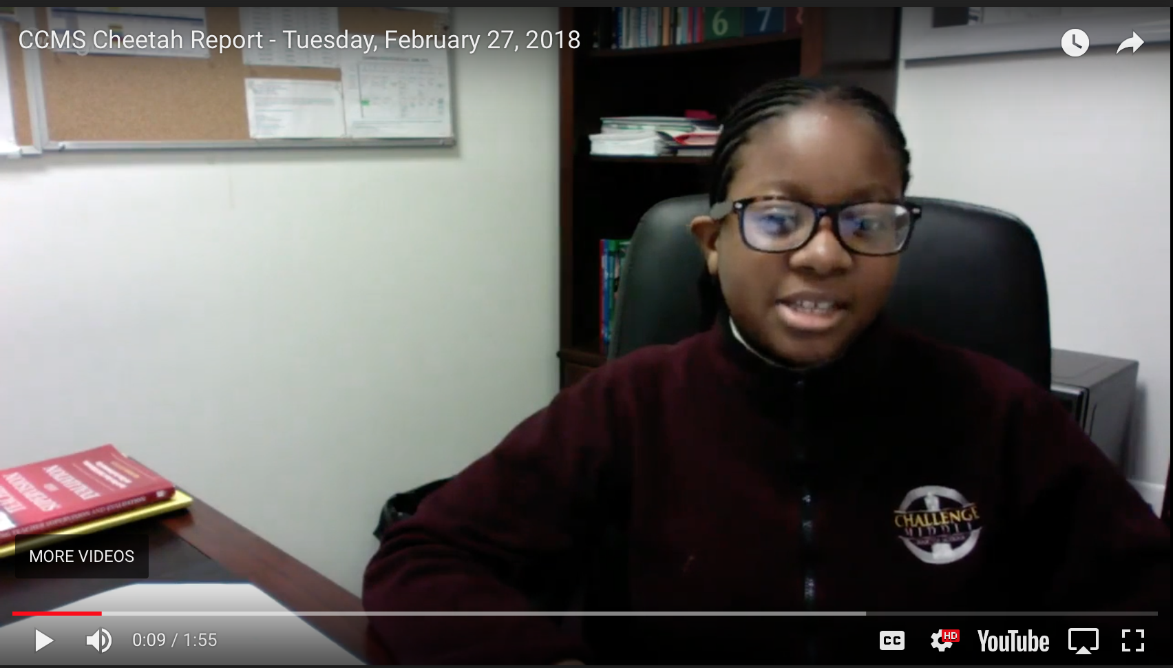 Middle School Scholars give the daily Cheetah Report.
