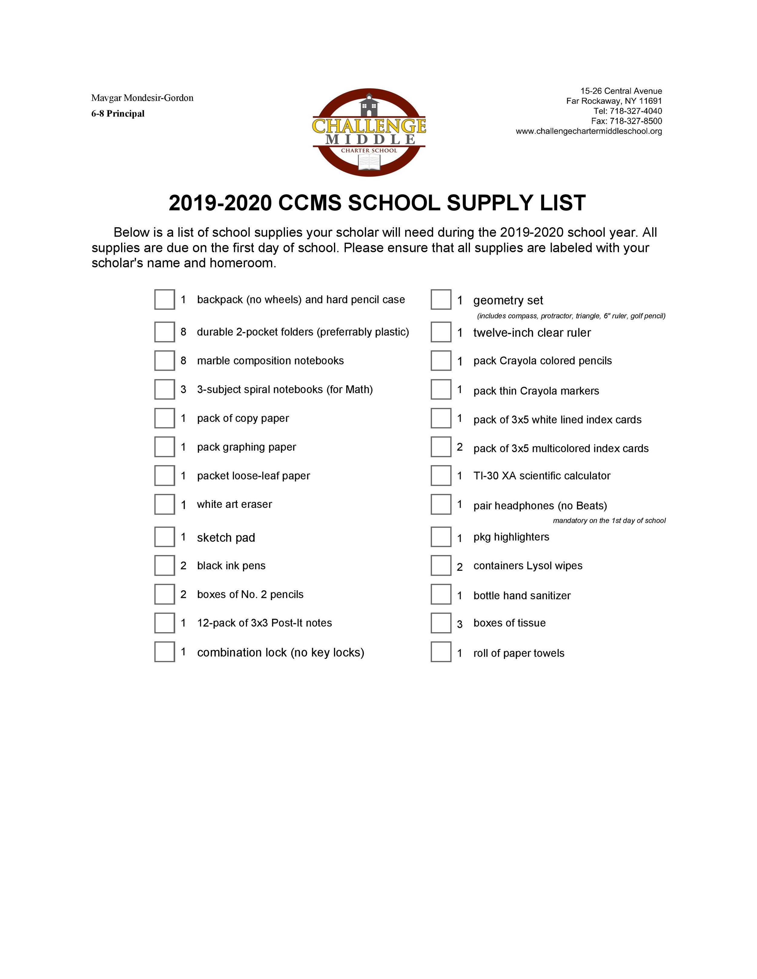 2019-20 School Supply List
