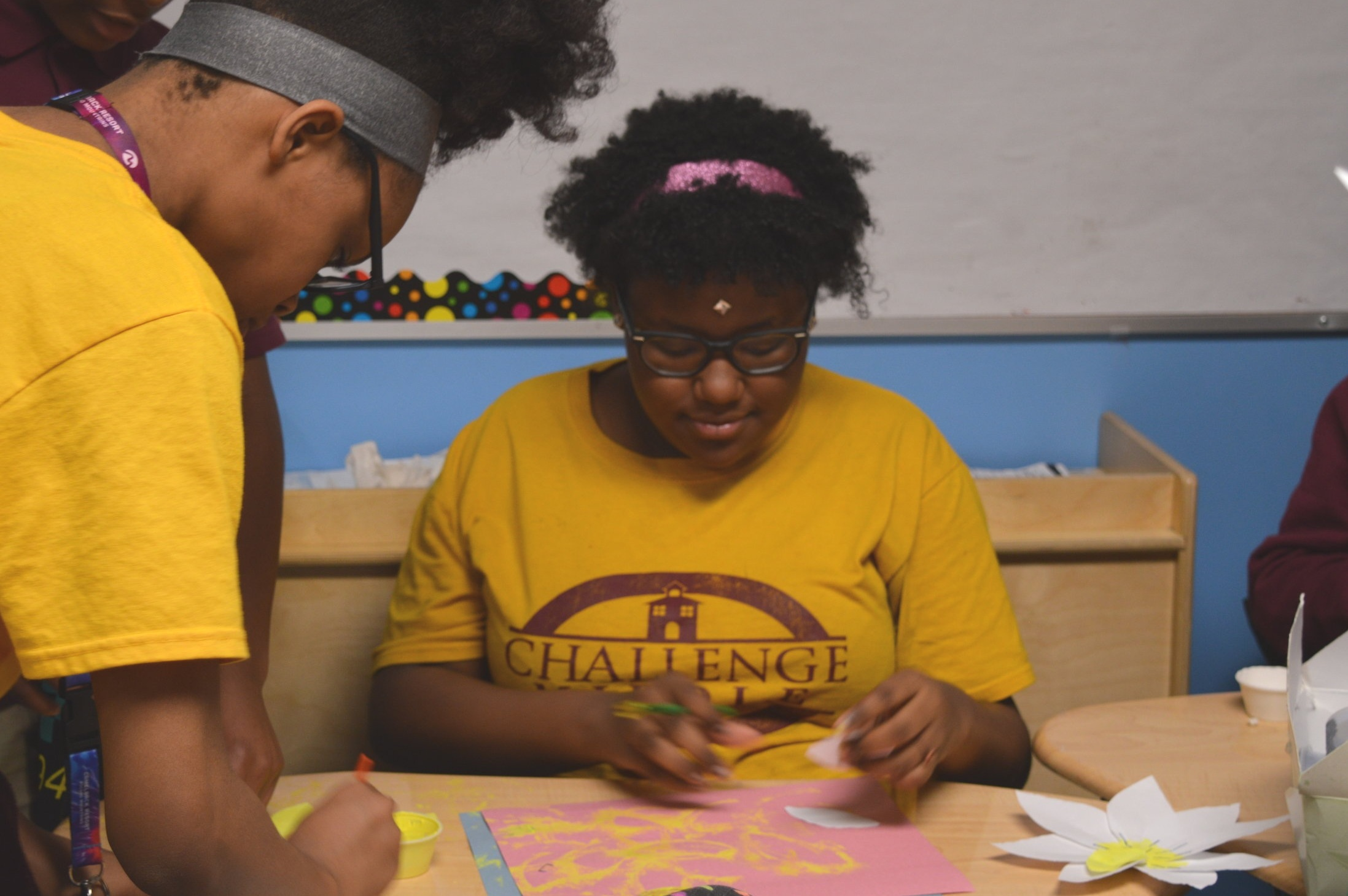 Scholars work on an art project for Multicultural Day.