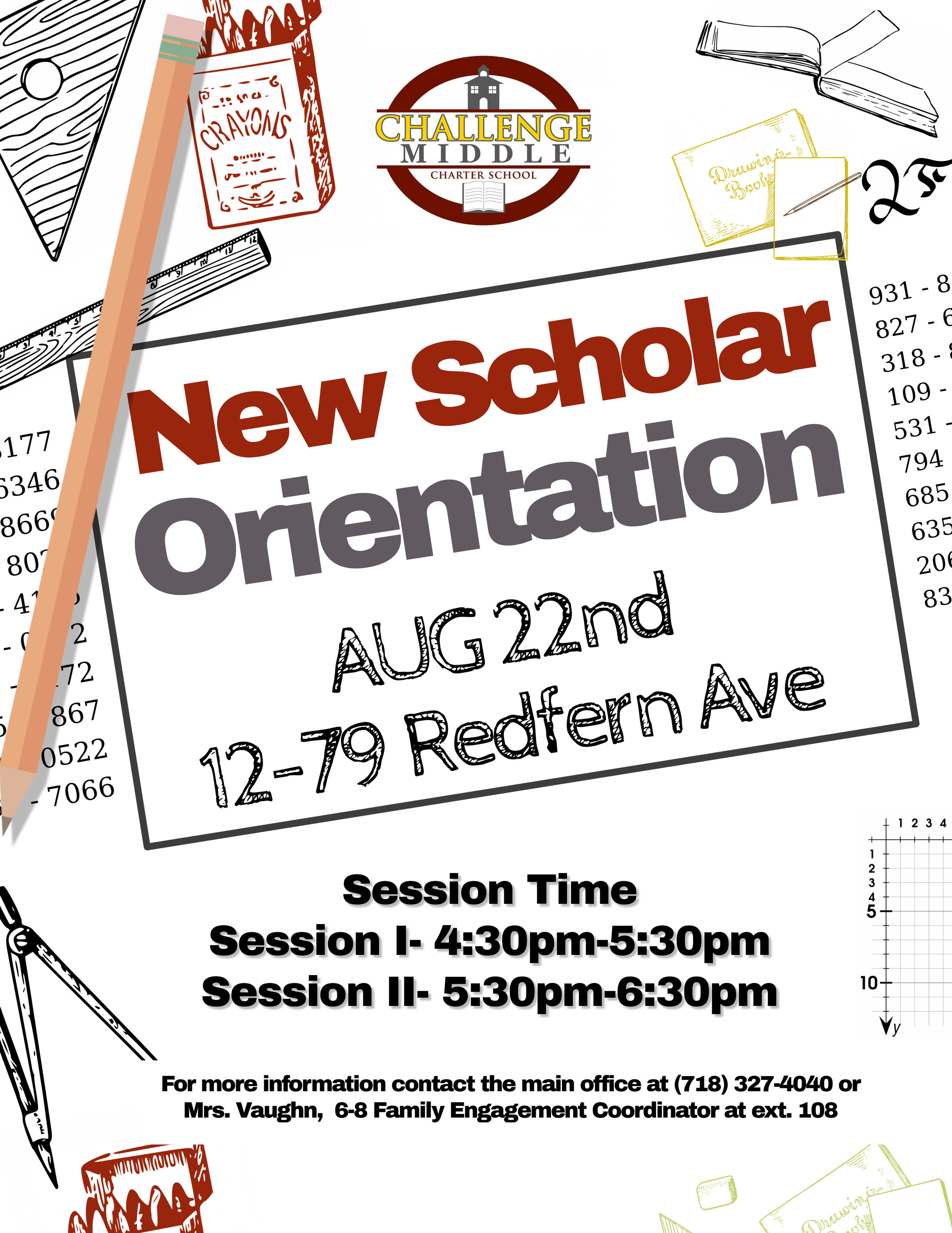 New Scholar Orientation flyer