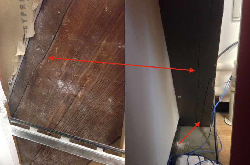 The timber illustrated in this image was inspected from two adjacent rooms. Large checks were observed in the timber in one room (left image) while small checks were visible in the timber in the adjacent room (right image). Using a Resistrograph, one of the separations was found to be either a shake or a split and the other a large check. The timber was in compression, so the separations were not considered an issue.