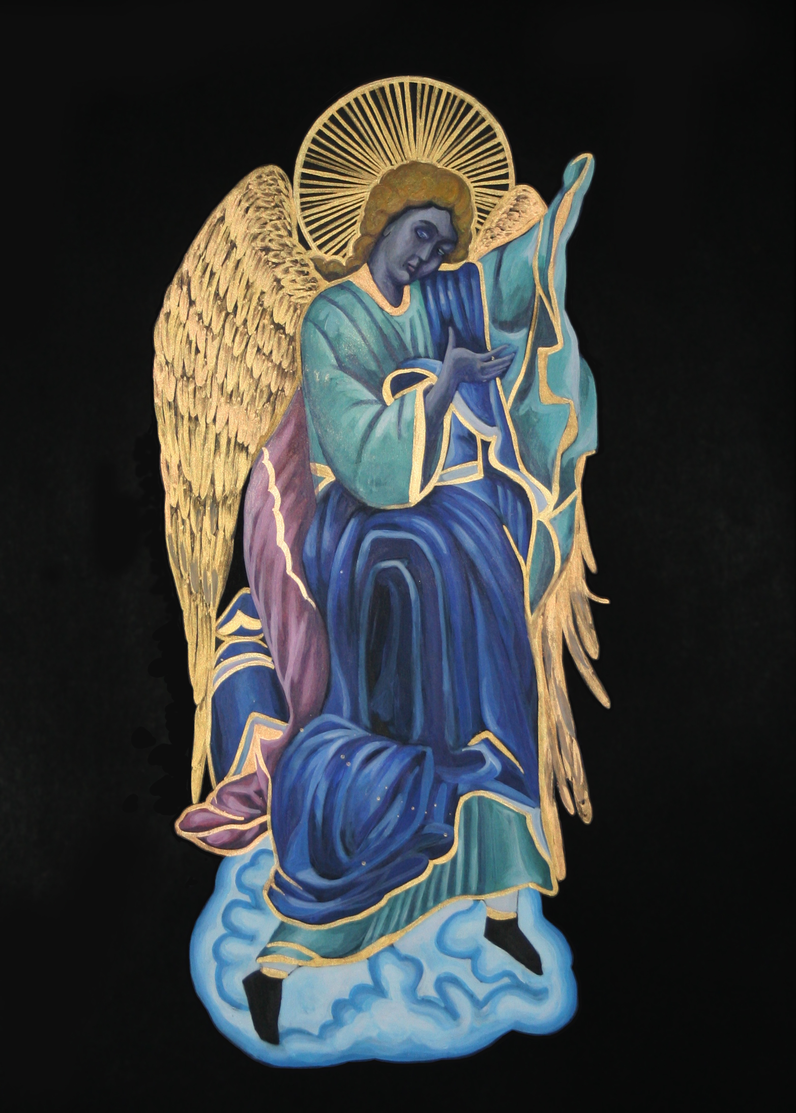 Angel  , 2012, acrylic and gold pigment on black paper, 42x29cm