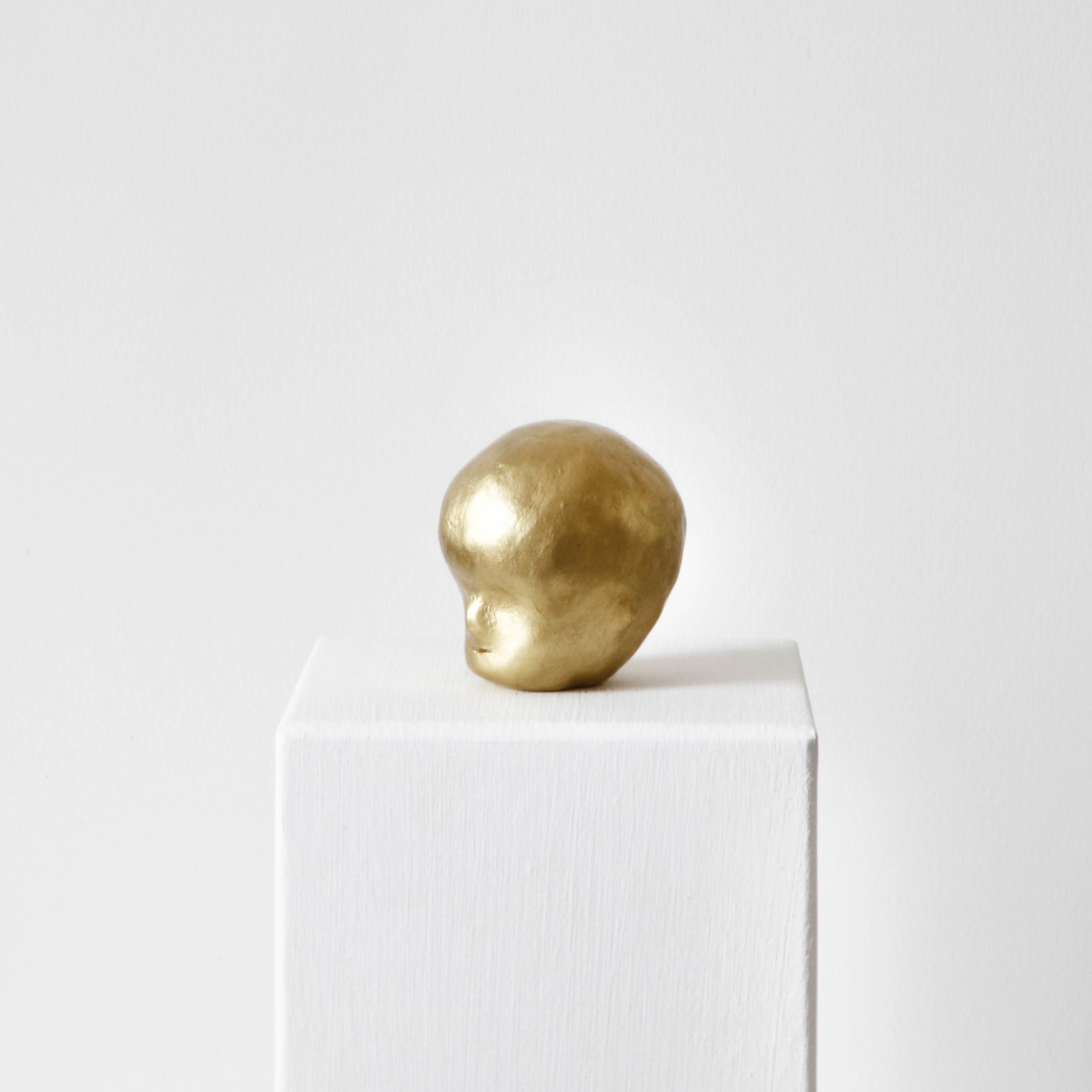 Facial development of the human embryo I  , 2017, raw clay, yellow gold pigment, lacquer and varnish, 7x5,3x6,5cm