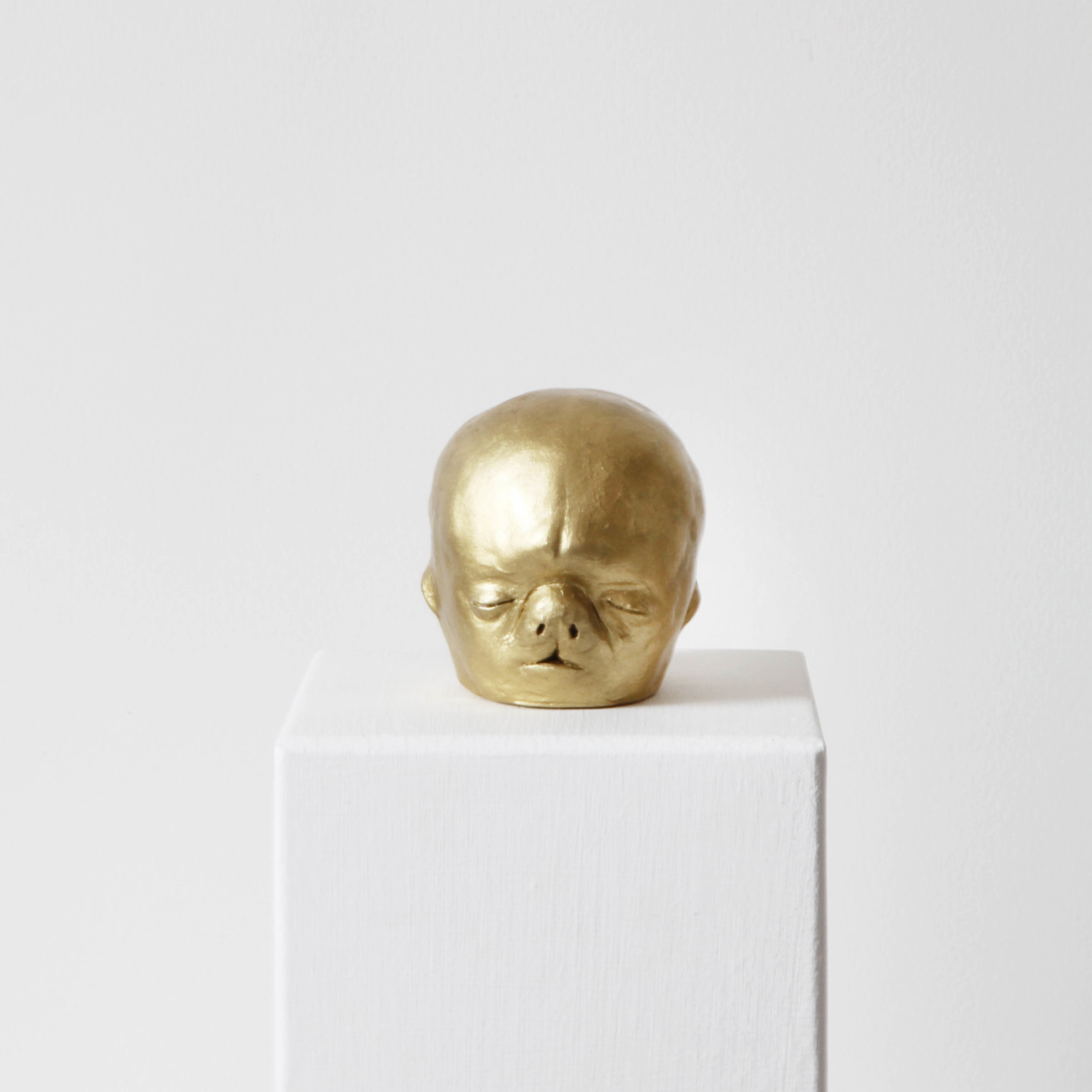 Facial development of the human embryo IV  , 2017, raw clay, yellow gold pigment, lacquer and varnish, 8x7,4x8,8cm