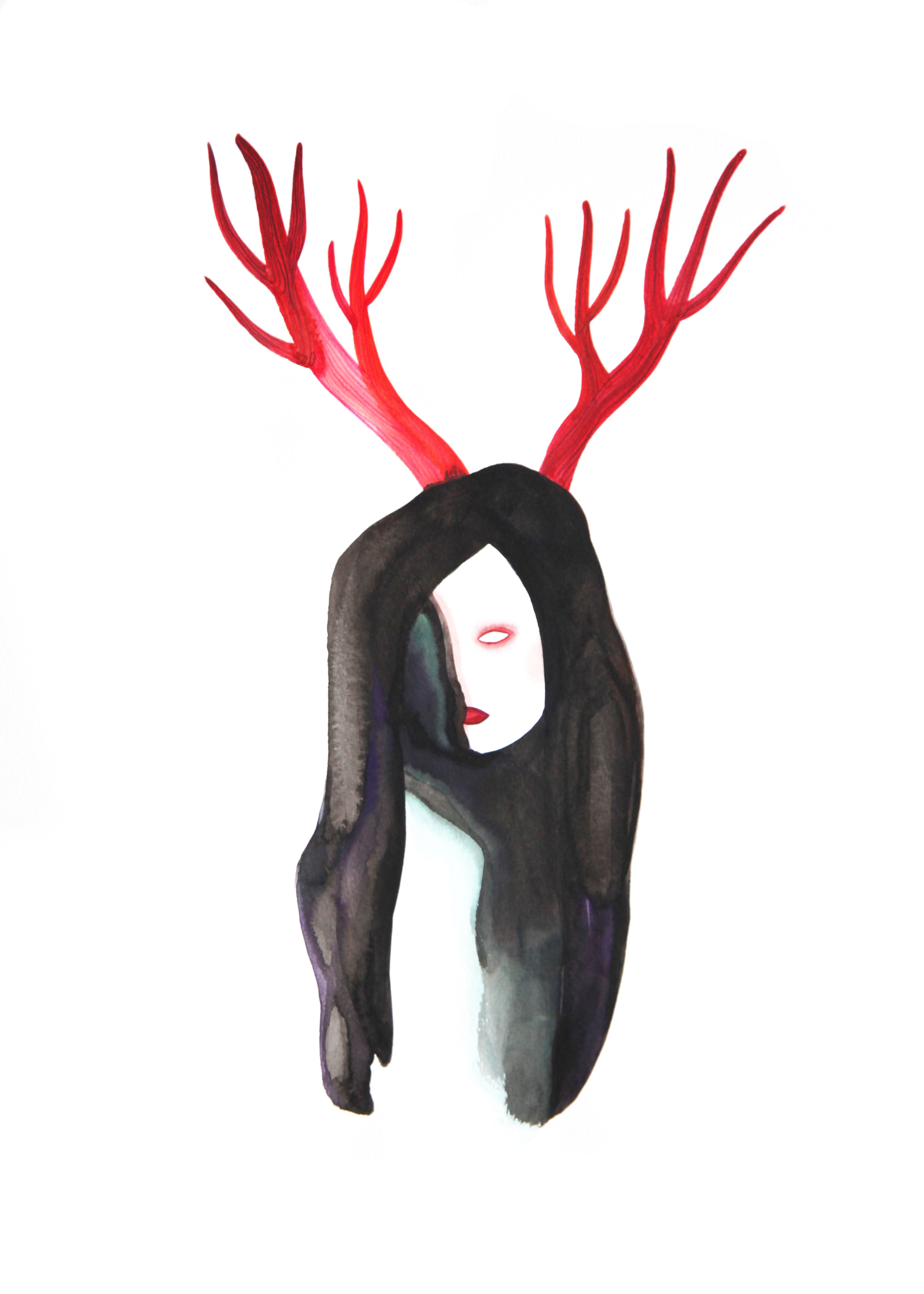 Je suis débile  , 2014, watercolor on paper, 48x36cm