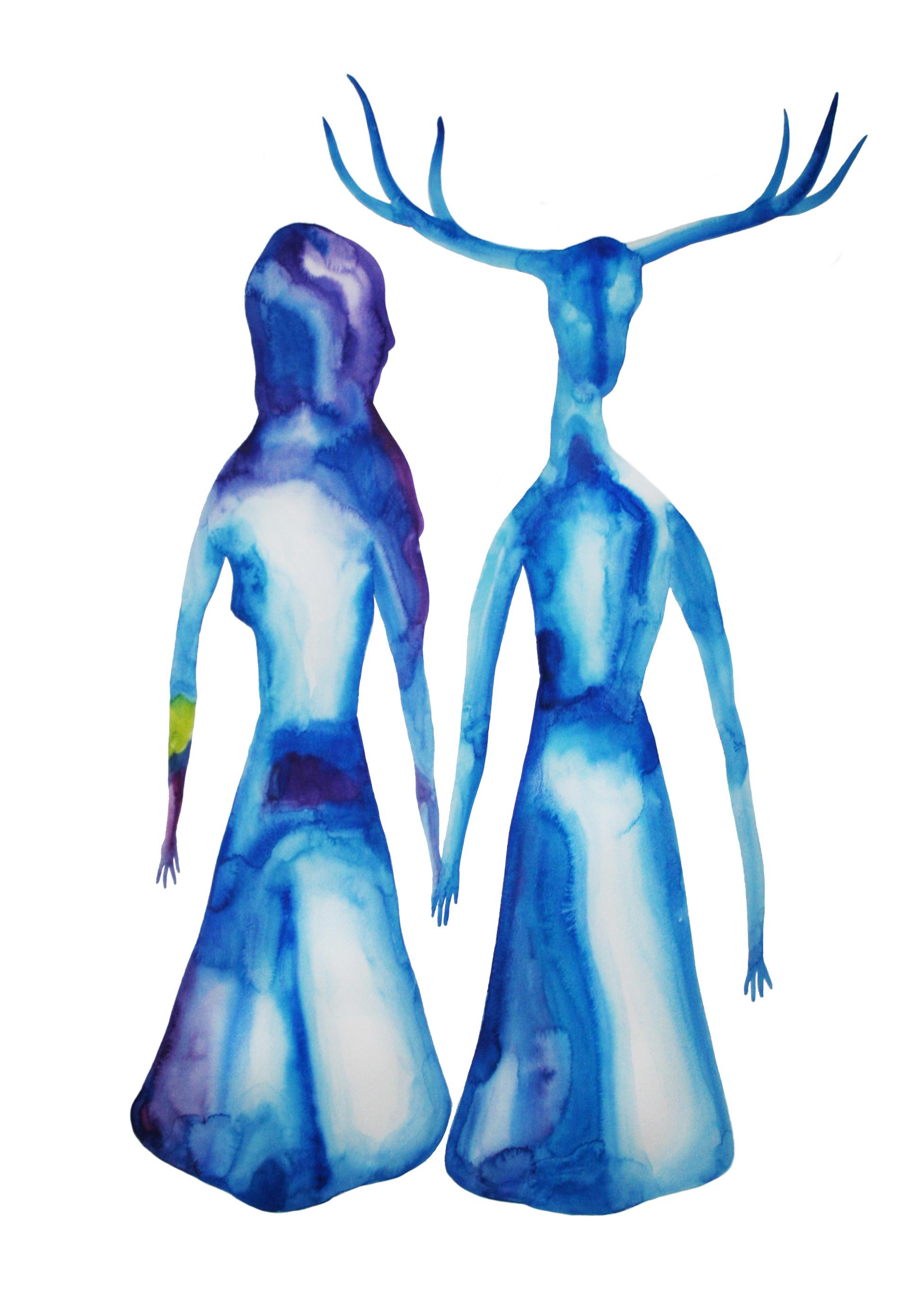 Viens avec moi  , 2015, watercolor on paper, 100x70cm