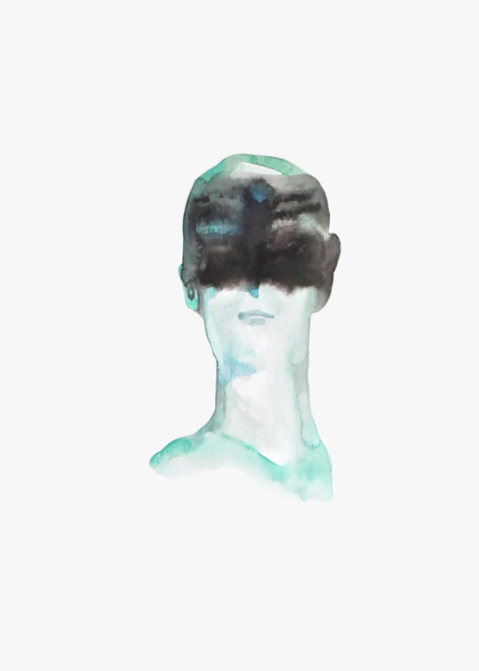 Blindfolded boy  , 2016, watercolor on paper, 40x30cm