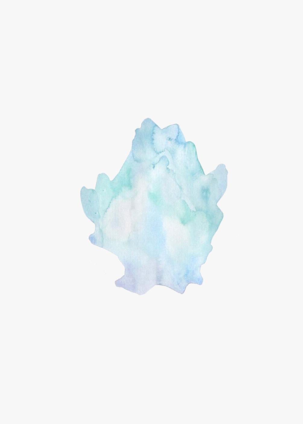 Organisme bleu clair  , 2016, watercolor on paper, 40x30cm