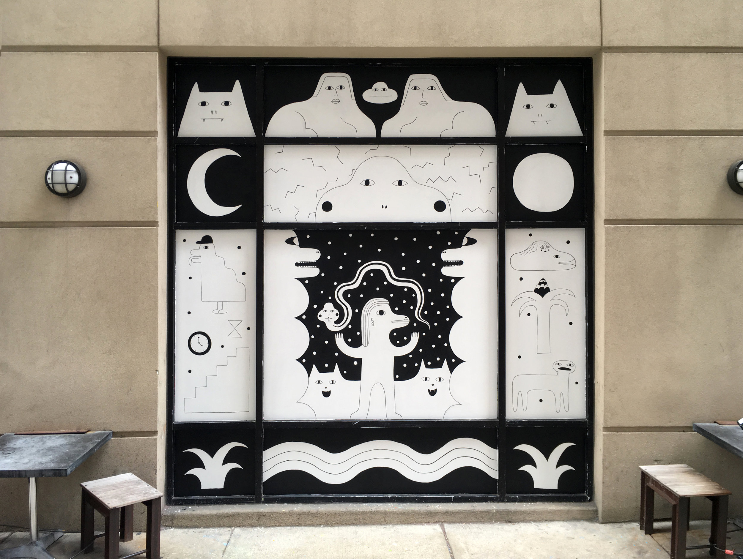 Mural on glass, Elixr Coffee, Philadelphia, PA 2016