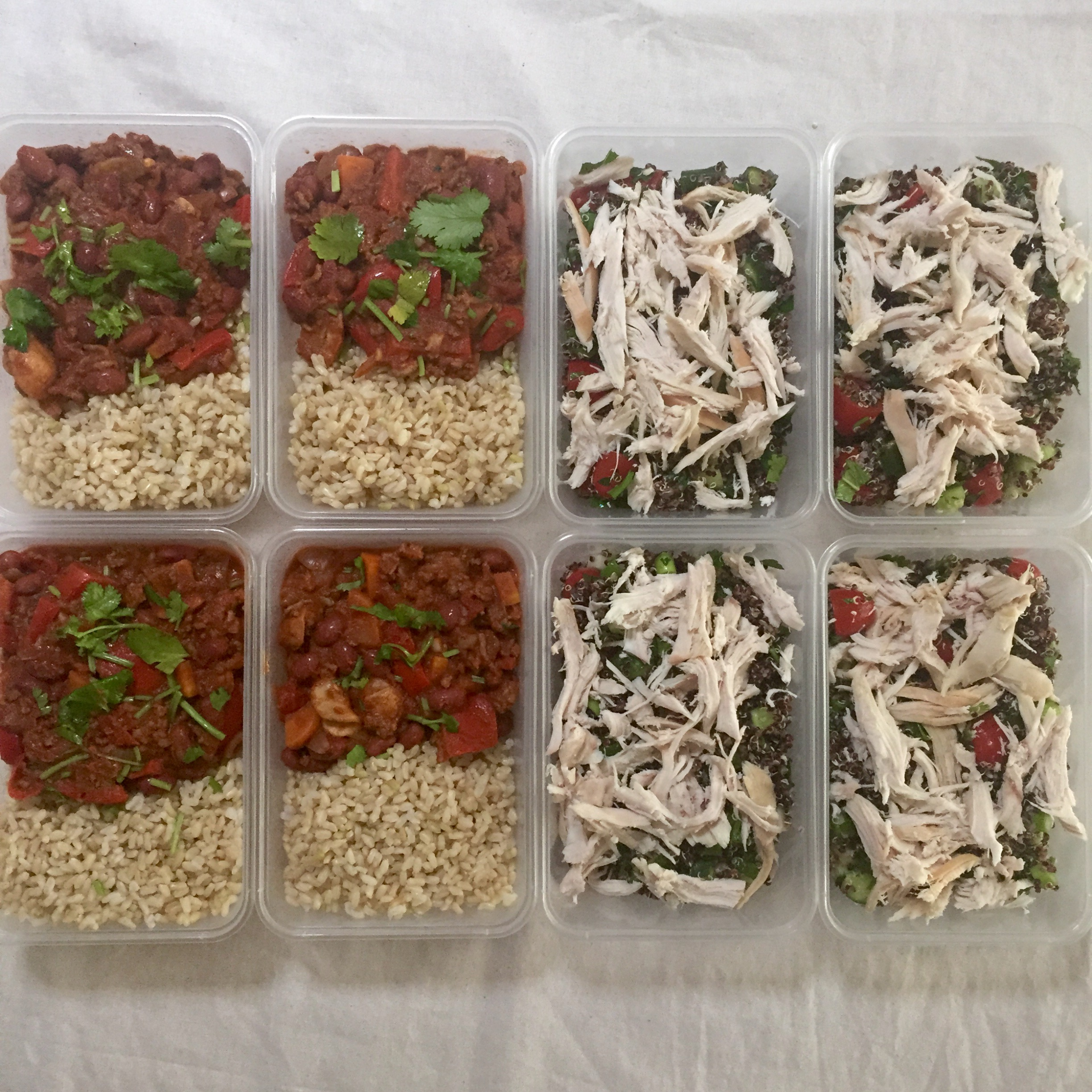 Use leftovers to make quick and healthy lunches and dinners (on the left), or make a hearty salad with a grain, veggies and a protein source (on the right) that will hold up well in the fridge for a few days.