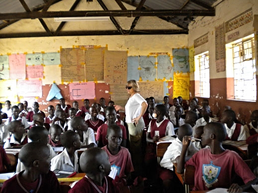 Our Founder teaching a class; her involvement with the school ran ten years
