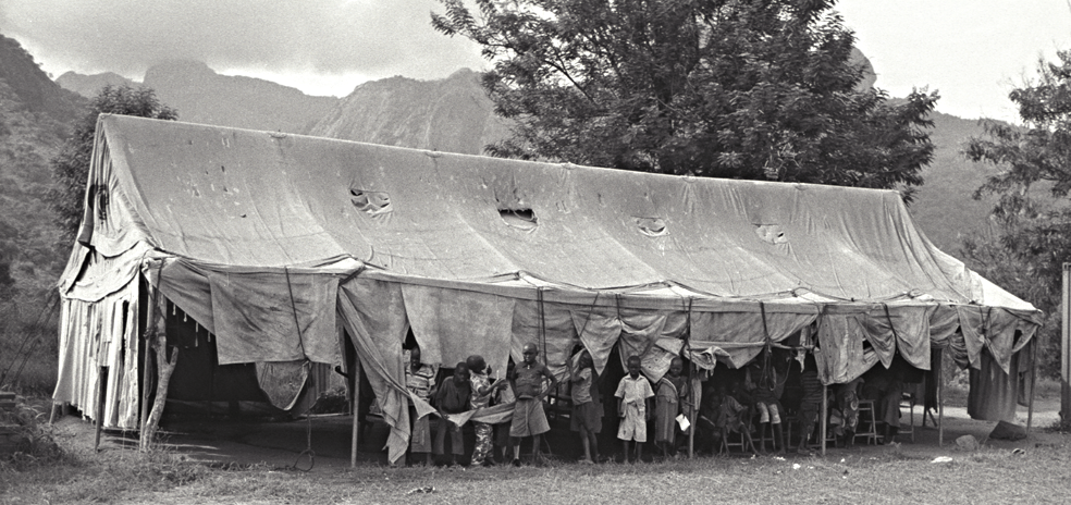 A nursery created from an army tarp used during the war