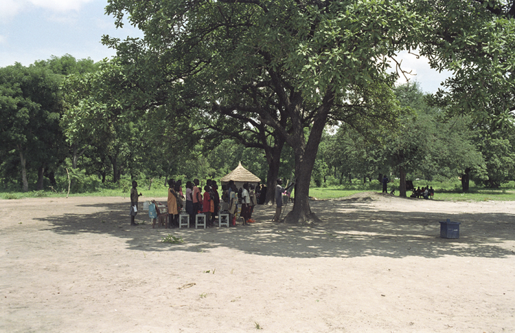 CLASSES HELD UNDER TREES, AWAY FROM THE TRIUMPHANT SUDANESE SUN.