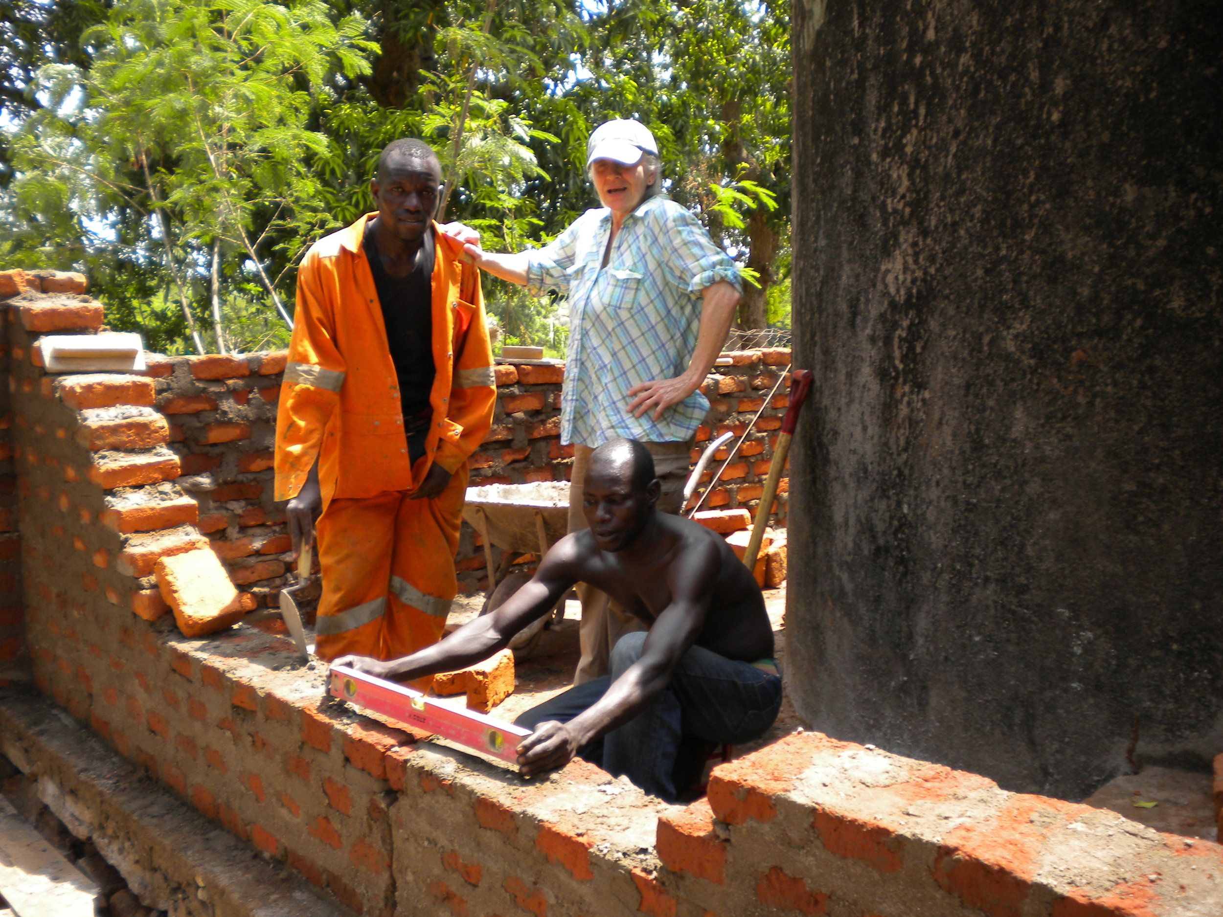 Our CEO Candace appreciating the progress for the new toilets-showers