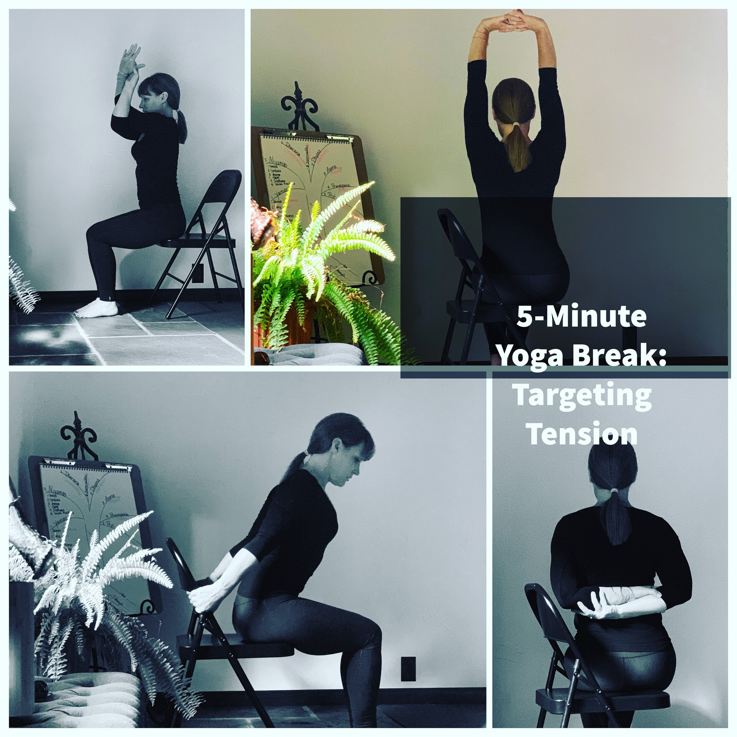 "Corporate Wellness Tip of the Week: - It's Wellness Wednesday with a 5-Minute Break for alleviating Tension during your workday. Each posture can be done from a chair. I recommend about 5-8 breaths per pose. TIP: Focus on Breathing more slowly than normal- Begin with a very long slow EXHALE followed by an inhale that feels ""bright"" or ""open"". Just notice how this affects you. All Postures have been reviewed in weekly classes, for more on these visit my studio @elements.rising or ask your favorite yoga teacher for assistance!Learn these and more solutions for everyday wellness by stopping into the studio and keep posted every Wednesday for tips taken directly from my corporate wellness programs. http://elements4yoga.com/workplace-wellness#corporatewellness #humpdaymotivation #alignmentyoga #chairyoga #wellnesswednesday #officeyoga #wellnessthatworks #healthylifestyles #healthyworkplace #corporatelife #yogaeveryday #yogainspiration #yogabreath #yogaatwork"