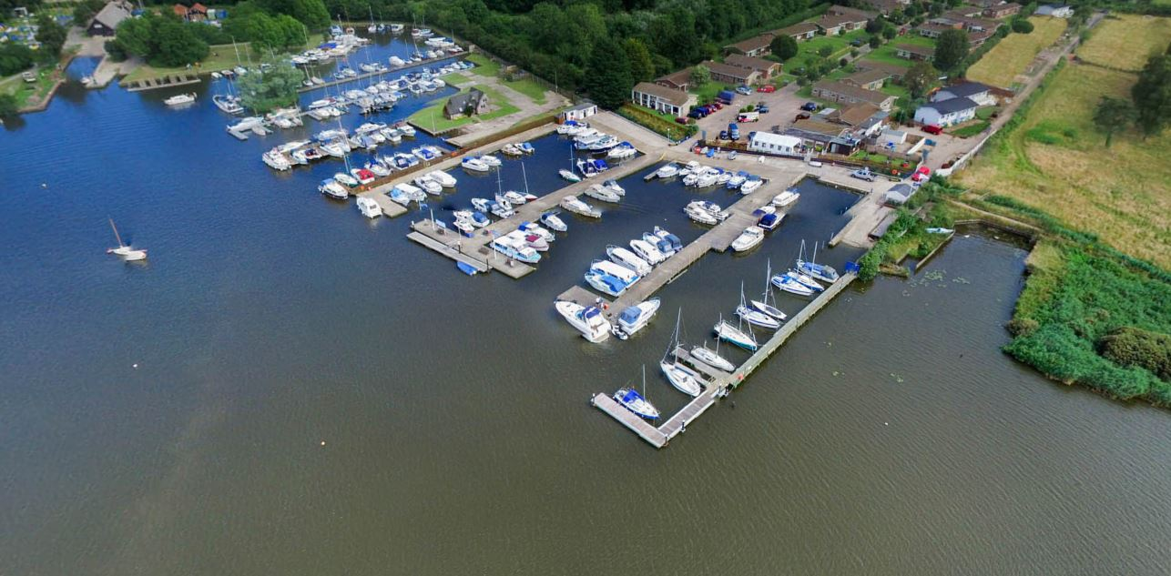 Above: Aerial view of Tingdene Broadlands Park & Marina - Oulton Broad.