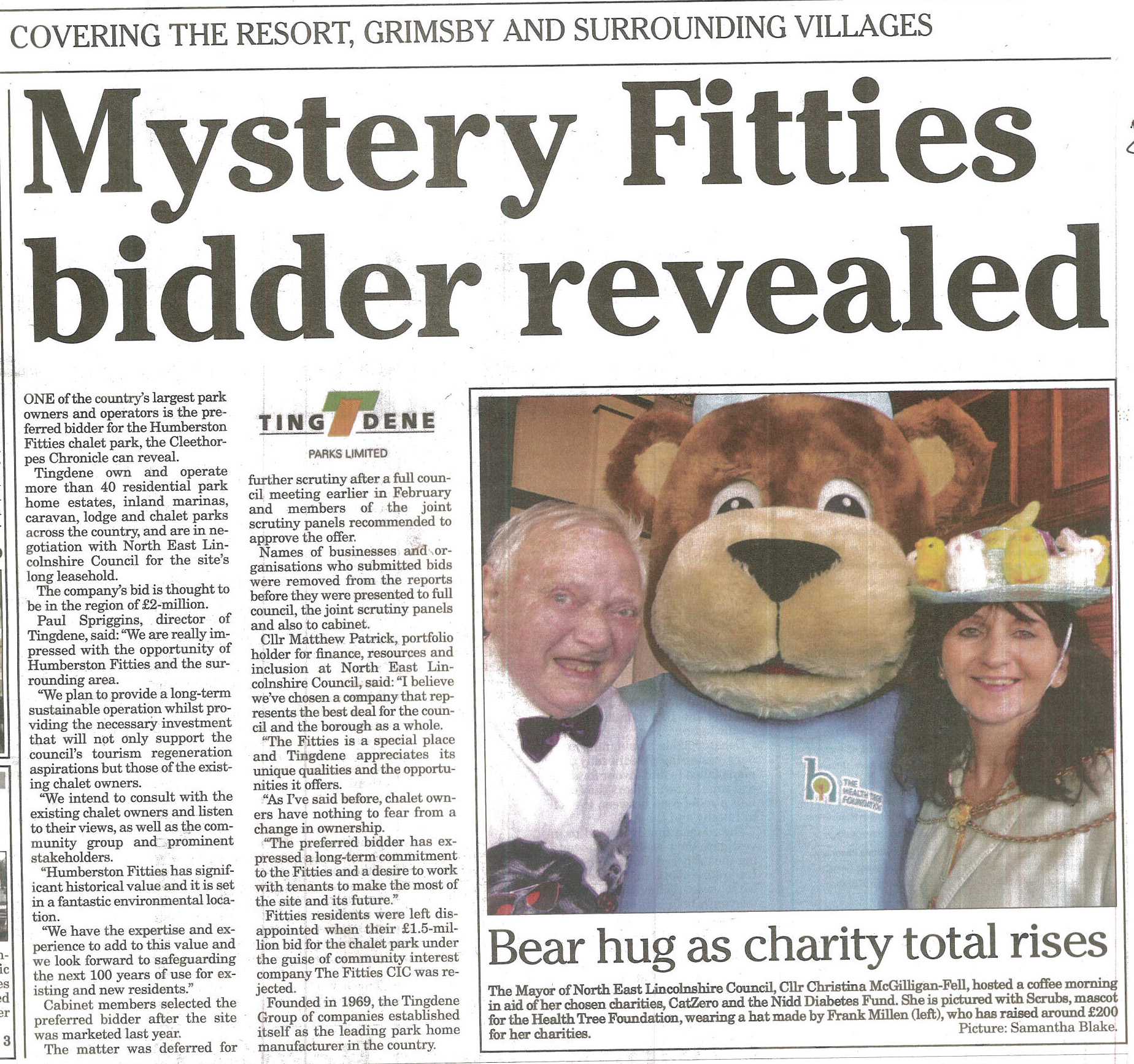 Above: Front page of the Cleethorpes Chronicle last week.