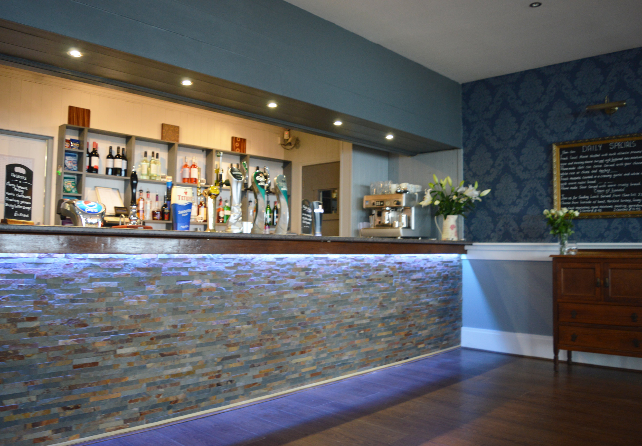 Above: The newly refurbished bar at Waterside in Corton, Suffolk