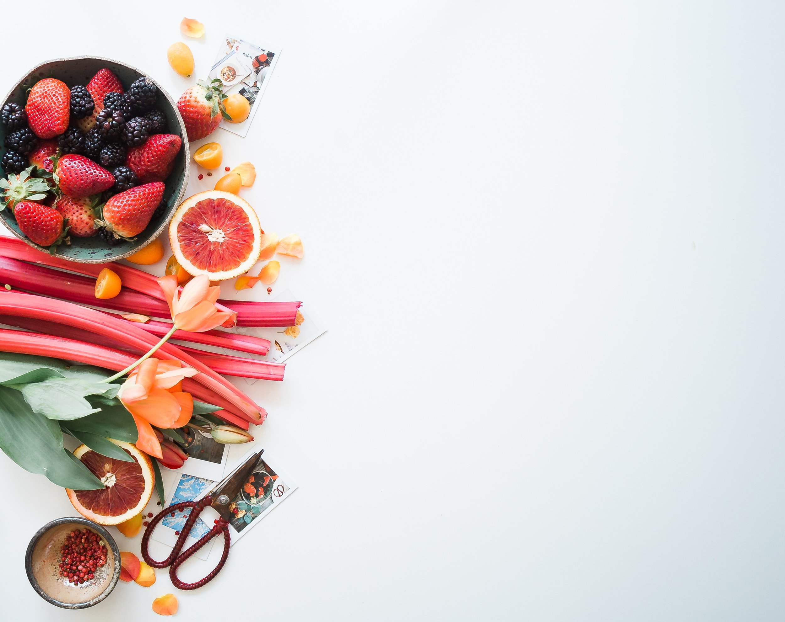 Bowl of berries and rhubarb