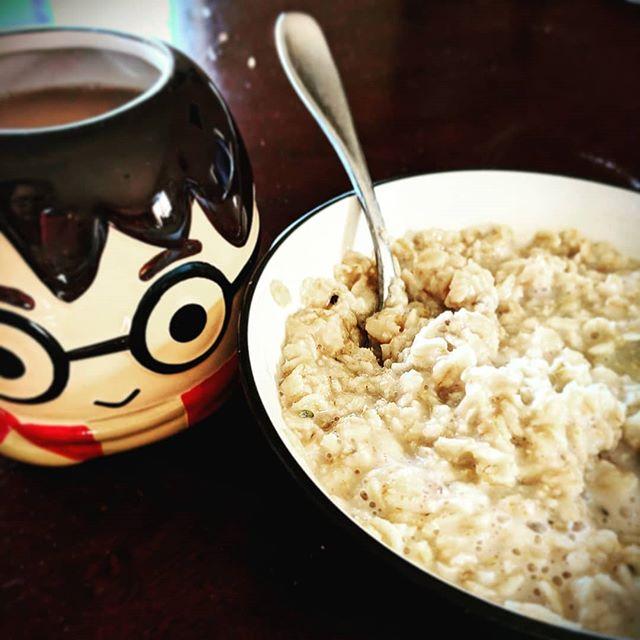 Accio breakfast! Starting my day with coffee and some homemade honey lavender oatmeal. #foodie #hpfangirl #culinarylavender #rawhoney #oatmeal #breakfast #butfirstcoffee #vegan #vegatarian #azliving🌵 #azmom #blogger #accio #harrypotter #glutenfreeisthewaytobe