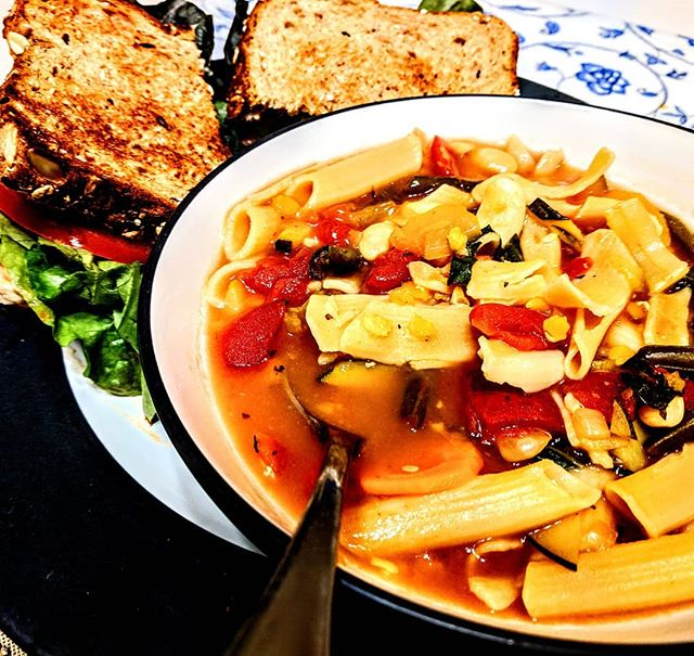 Feeling under the weather so I made some homemade minestrone soup with some chipotle chickpea salad sandwich. #veggiesitswhatsfordinner #vegan #veganlife #vegansofaz #veganfoodporn #veganfoodshare #veganfood #veganaf #foodie #nomeatnoproblem #eatyourveggies #vegatarian #minestronesoup #chickpeas #nomnomnom #yum #azliving🌵 #az #azlife #azmom #eastvalleymom #sunday #sundaydinner #santanvalley #stv #queencreek