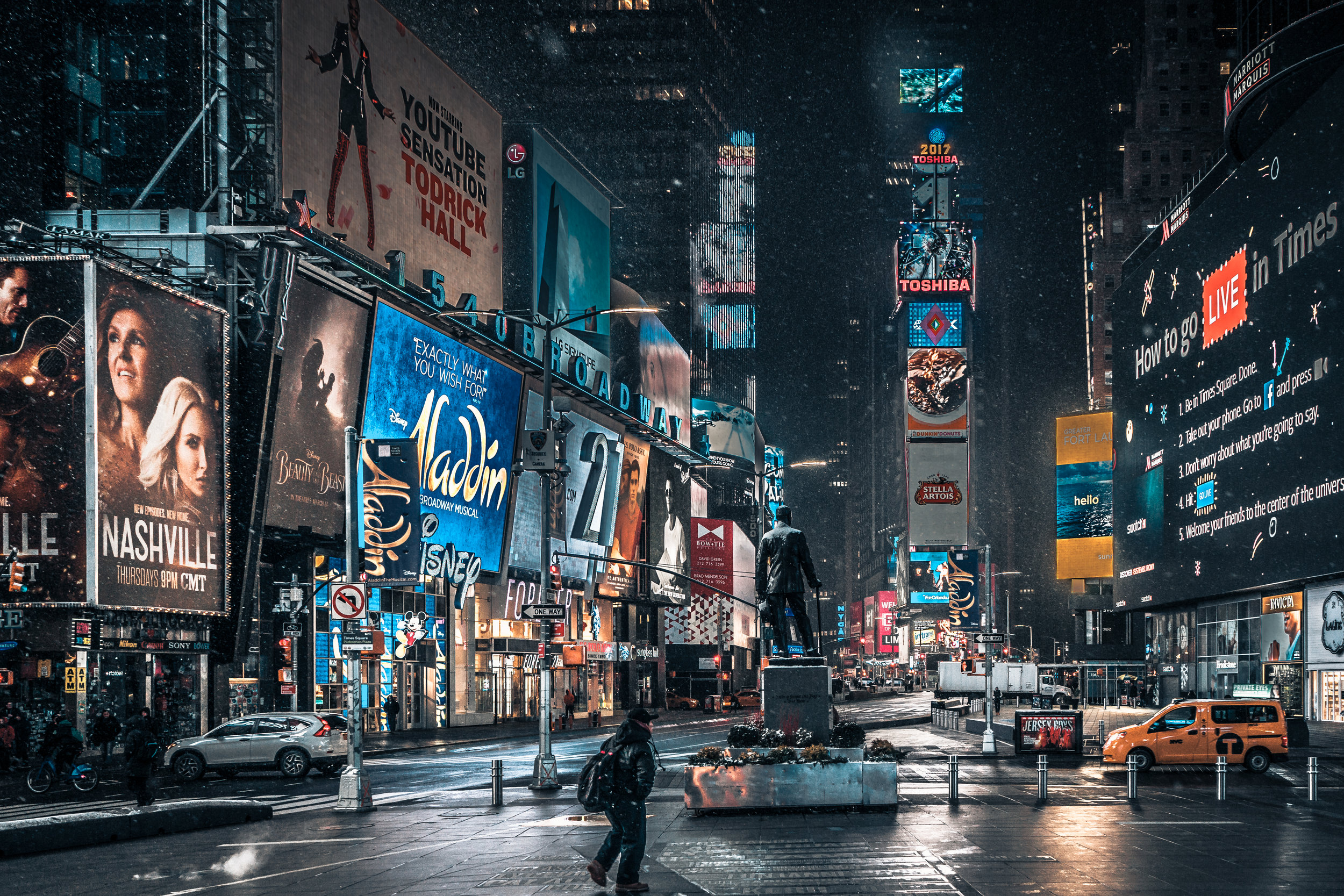 Snowfall beginning in Times Square. This was shot around 6AM; the emptiness of the area makes it a little eerie.