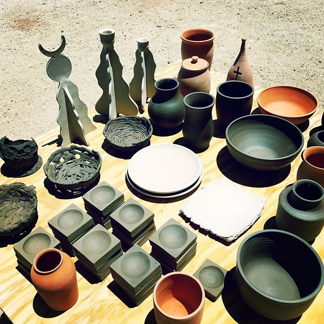A lot going on here... bells, bowls, candleholders, experiments, and catch all's (stay tuned to @cedar_flats ) #hatethrowingplates #joshuatree #100degrees  #kilnwarfare