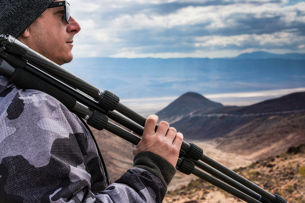 Me and my trusty  Slik Pro 634 CFL  carbon fiber tripod on location in  Death Valley national park .