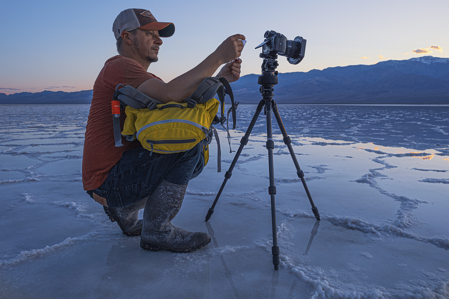 Preparing for a night of shooting in Death Valley national park with the Cokin Clearsky filter.