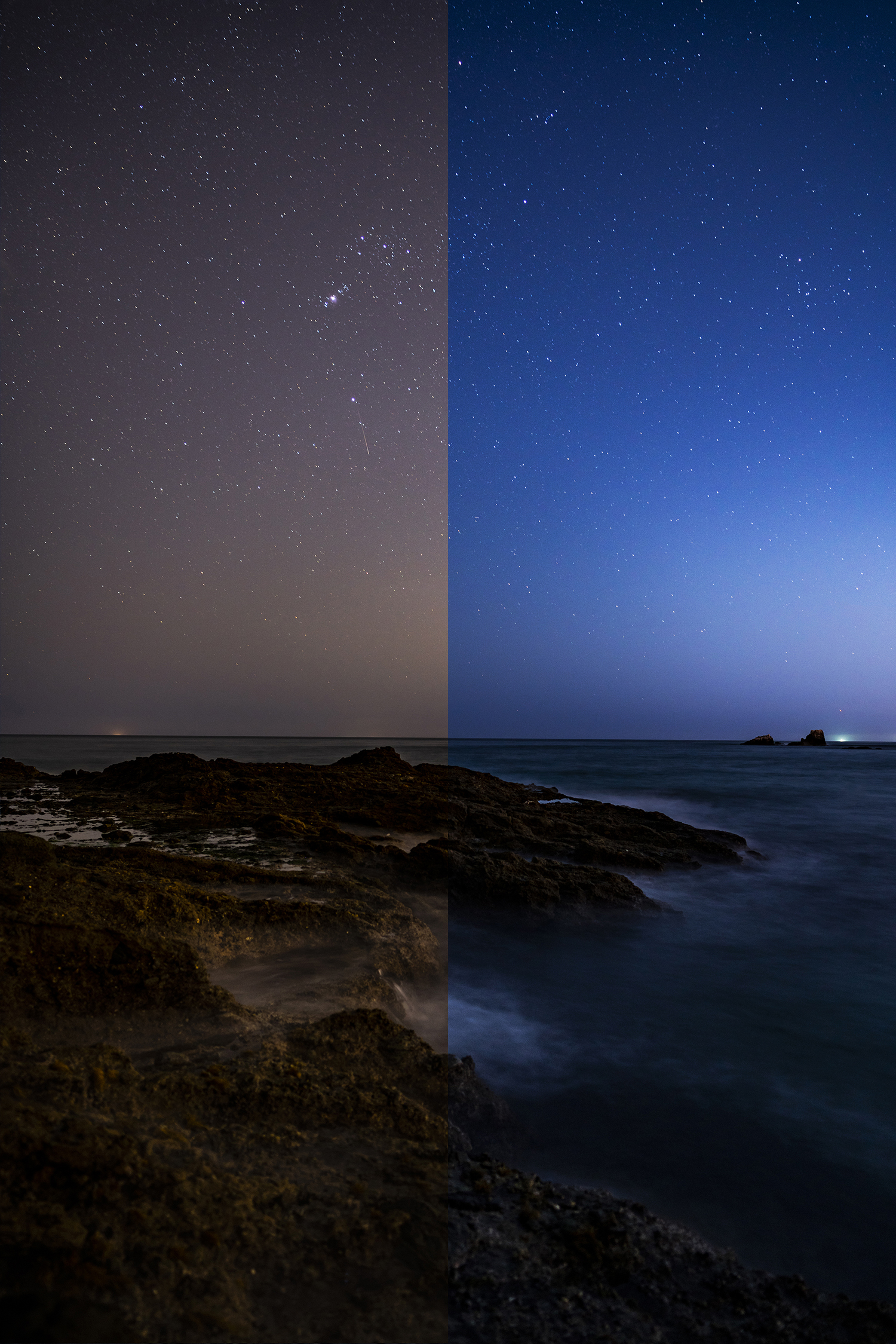A split shot taken at a near by cove close to the hustle and bustle of Laguna Beach, California using the Cokin Clearsky filter. Before on the left / after on the right.