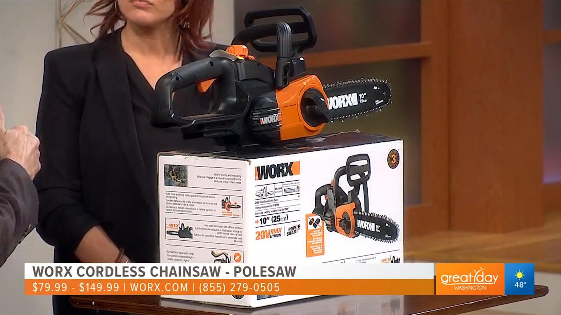 WORX CORDLESS CHAINSAW – POLESAW - $79.99 to $149.99Shop Now