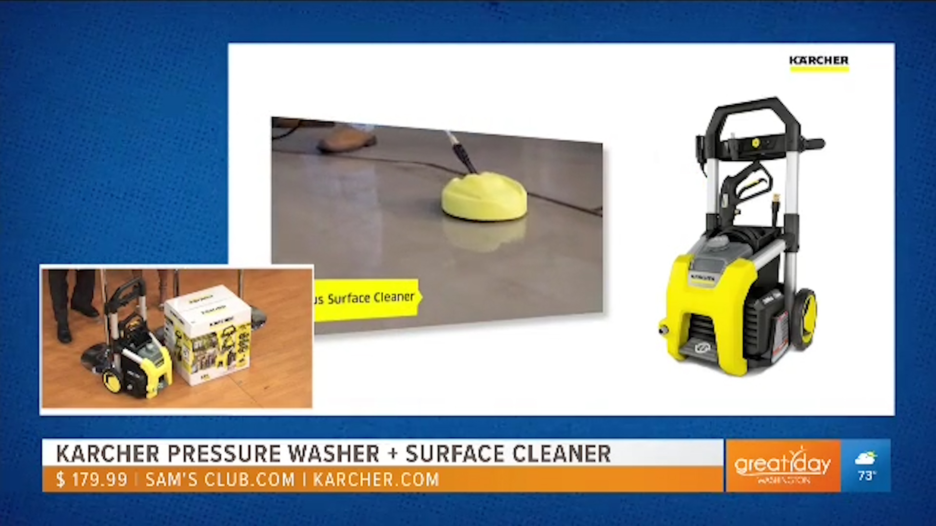 KARCHER K-1800 PRESSURE WASHER + SURFACE CLEANER - $179.99 at Sam's Club and Karcher.comShop Now