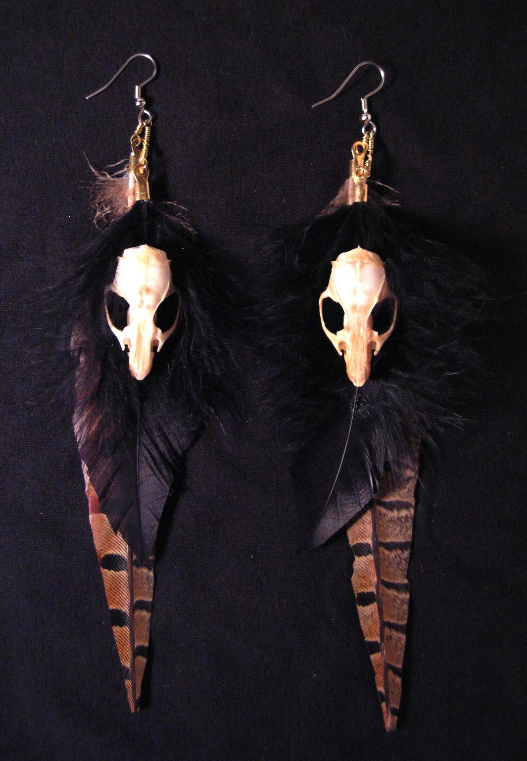 rat skull & feather earrings.jpg